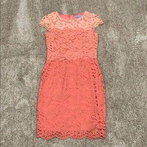 Coral lace ombré dress